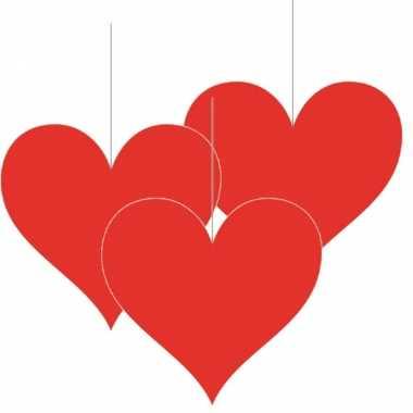 3x stuks hangversiering harten/hartje 17 cm