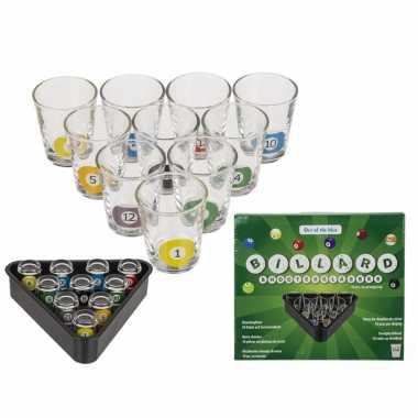 Drankspel/drinkspel shotjes snooker met 10 glaasjes