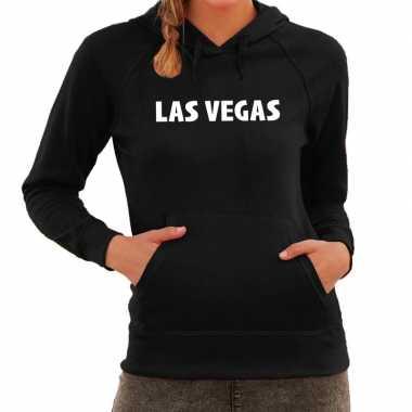 Las vegas/wereldstad hoodie zwart dames
