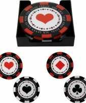 4x glazen poker fiches glasonderzetters 10 cm